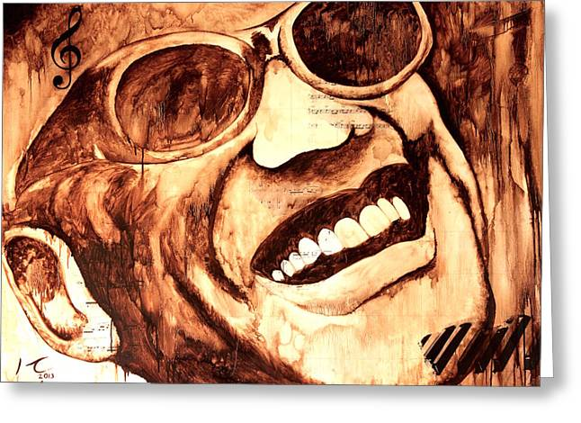 Mexicano Greeting Cards - Ray Charles Greeting Card by Hugo C Aguilar