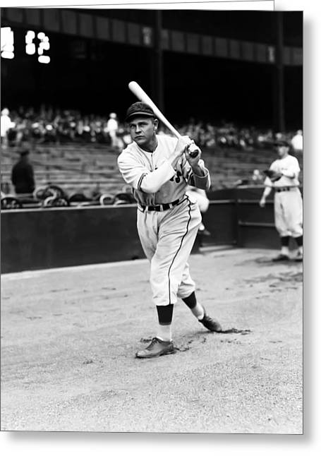Baseball Bat Greeting Cards - Raymond W. Ray Pepper Greeting Card by Retro Images Archive