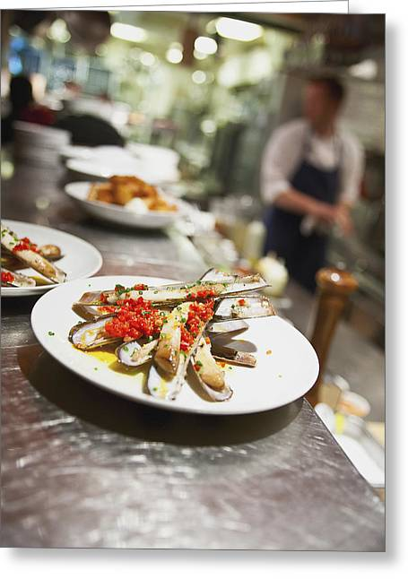 35-39 Years Greeting Cards - Razor Clams On A Plate In A Restaurant Greeting Card by Eric Kulin