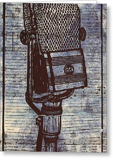 Lino Greeting Cards - RCA 44 on Music Greeting Card by William Cauthern