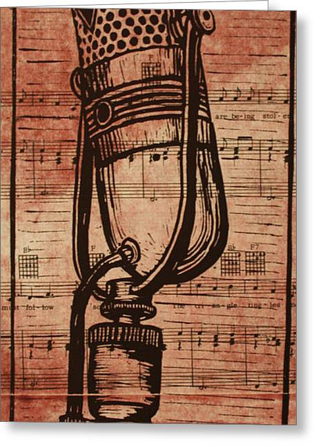 Lino Greeting Cards - RCA 77 on Music Greeting Card by William Cauthern