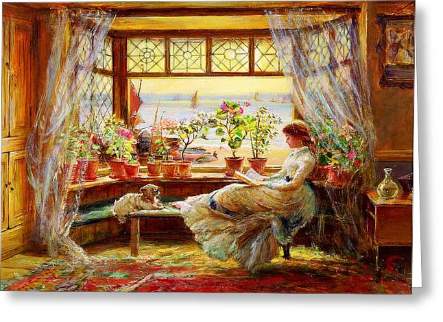 Buonarroti Greeting Cards - Reading by the Window Greeting Card by Celestial Images