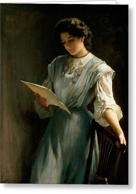 Woman; Love; Portrait; Edwardian Greeting Cards - Reading The Letter Greeting Card by Thomas Benjamin Kennington