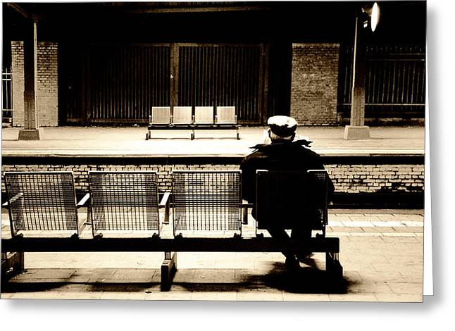 Old Man Reading Greeting Cards - Reading While Waiting for the Train Greeting Card by Mountain Dreams