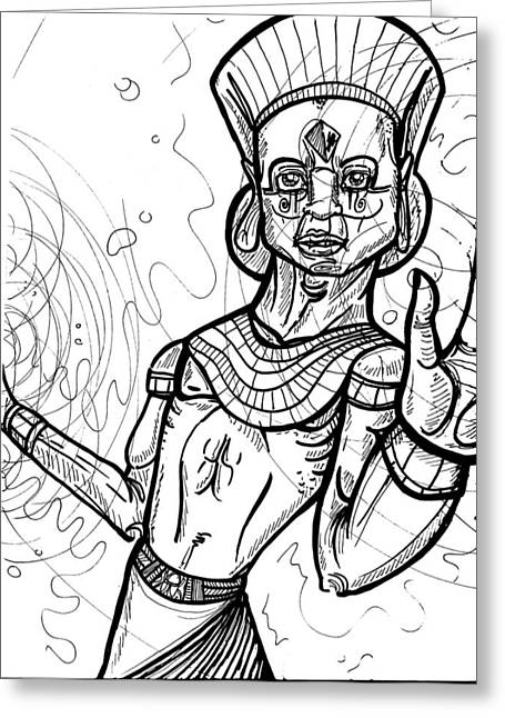 Pharaoh Drawings Greeting Cards - Realization  Greeting Card by Anthony Tonich