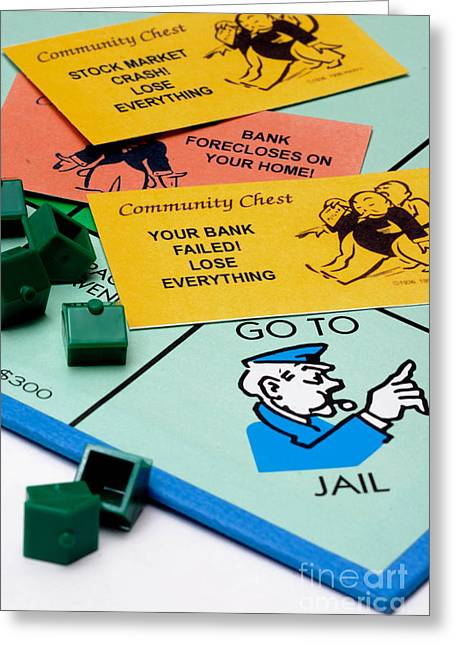 Problem Greeting Cards - Recession Hits Monopoly Greeting Card by Amy Cicconi
