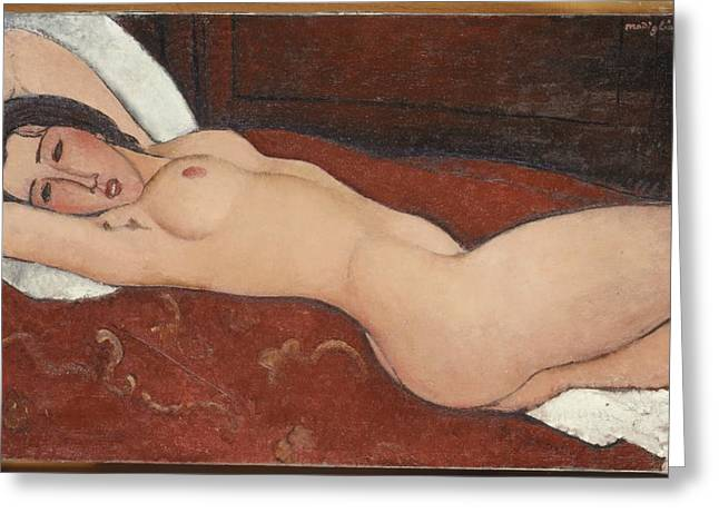 Amedeo Greeting Cards - Reclining Nude Greeting Card by Amedeo Modigliani