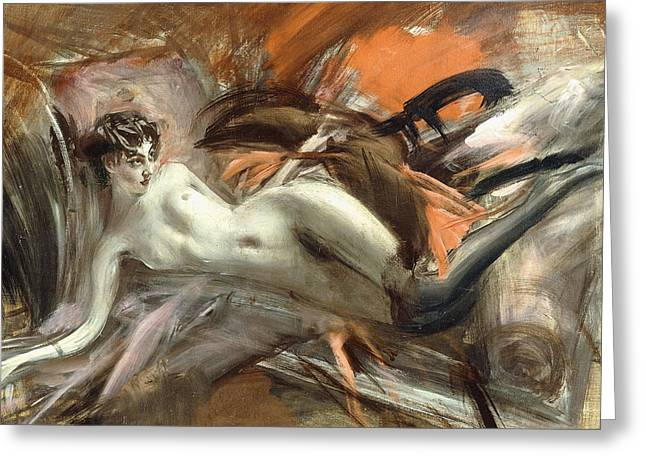 Reclining Nude Greeting Card by Giovanni Boldini