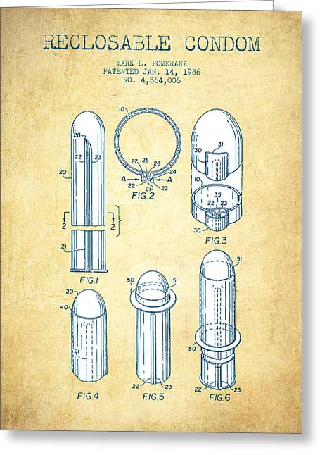 Reclosable Condom Patent From 1986 - Charcoal Greeting Card by Aged Pixel