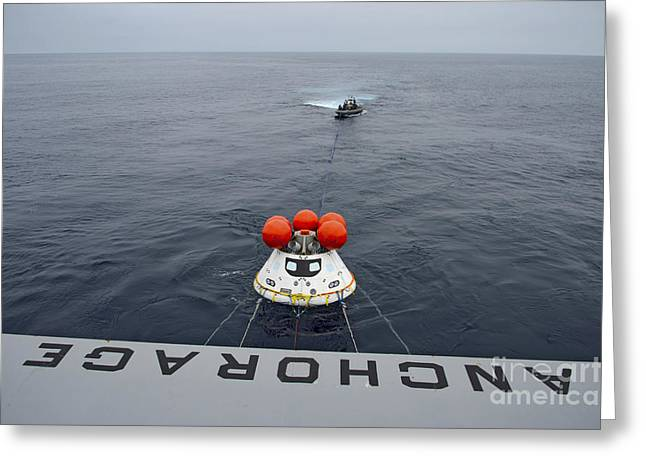 Astronautics Greeting Cards - Recovery Of The Orion Crew Module Greeting Card by Stocktrek Images
