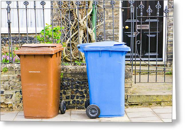 Pick-ups Greeting Cards - Recycling bins Greeting Card by Tom Gowanlock