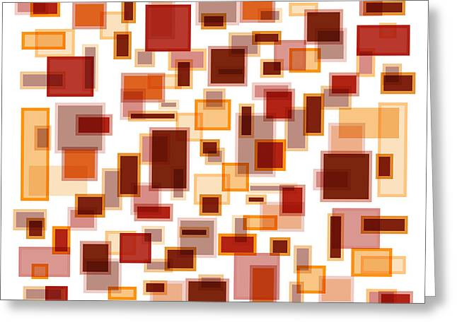Red Abstracts Drawings Greeting Cards - Red Abstract Rectangles Greeting Card by Frank Tschakert