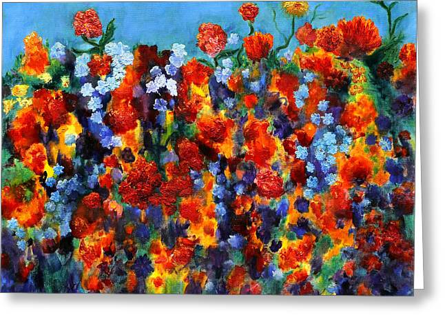 Impressionism Reliefs Greeting Cards - Red and Blue Greeting Card by Regina Valluzzi