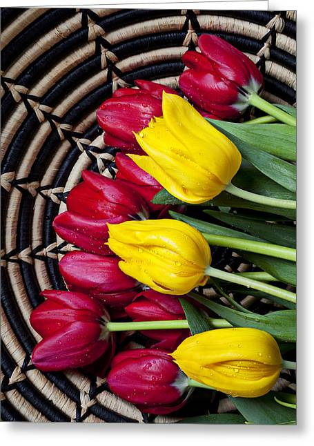 Rain Drop Greeting Cards - Red and yellow tulips  Greeting Card by Garry Gay
