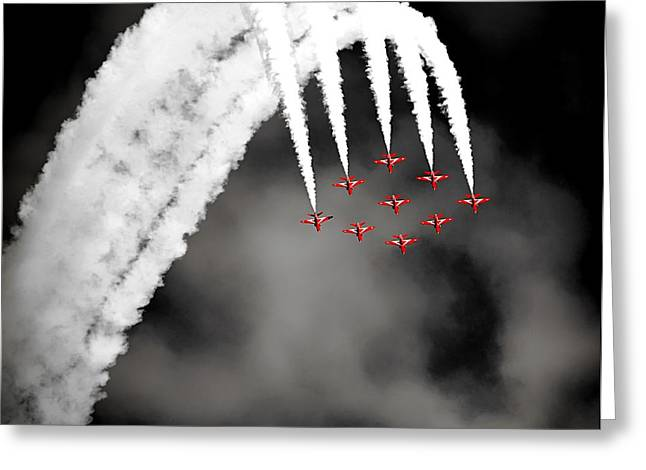 Airpower Greeting Cards - Red Arrows Acrobatic Flying Team Greeting Card by Pixabay