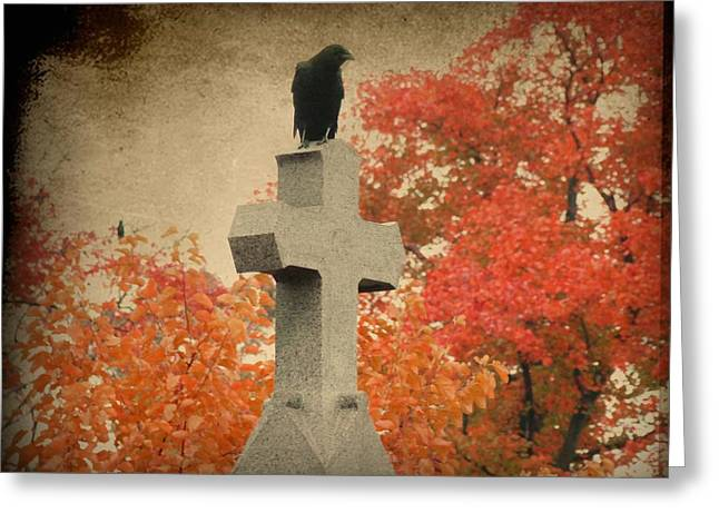Gothicrow Greeting Cards - Red Autumn  Greeting Card by Gothicolors Donna Snyder