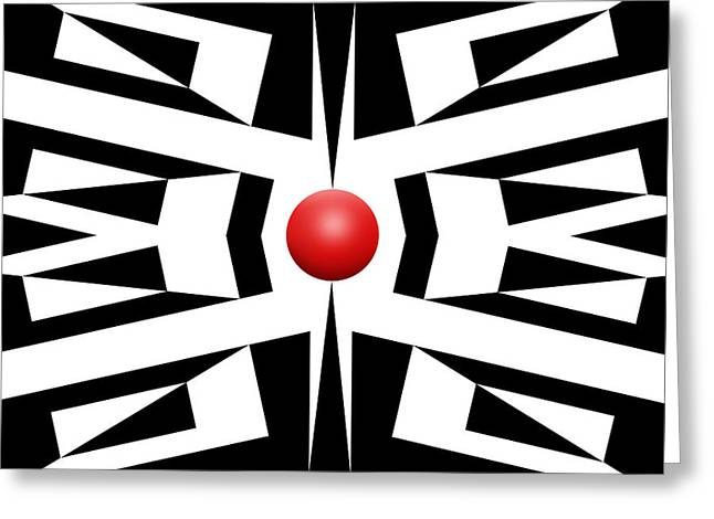 Pop Mixed Media Greeting Cards - Red Ball 8 Greeting Card by Mike McGlothlen
