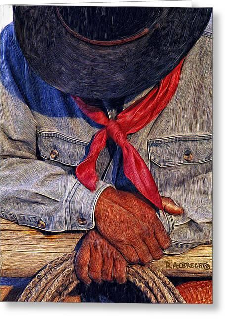 Western Digital Art Greeting Cards - Red Bandana Greeting Card by Robert Albrecht