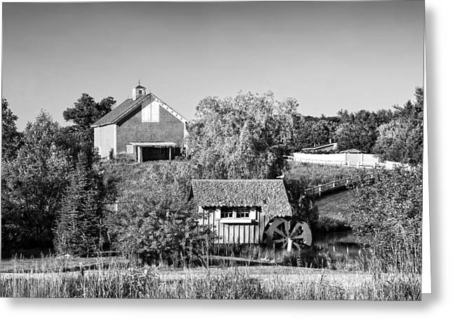 Shed Greeting Cards - Red Barn And Water Mill On Farm In Maine Greeting Card by Keith Webber Jr
