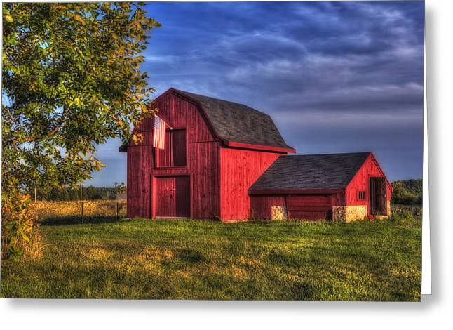 Old Barns Greeting Cards - Red Barn in Autumn Greeting Card by Joann Vitali