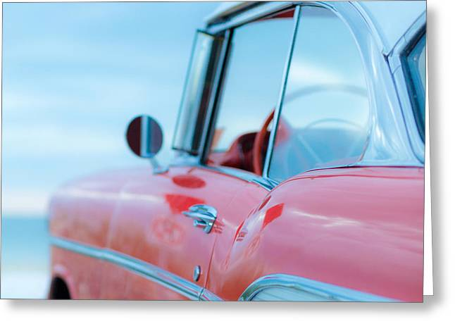 Aspect Greeting Cards - Red Chevy 57 Bel Air at the beach Square Greeting Card by Edward Fielding