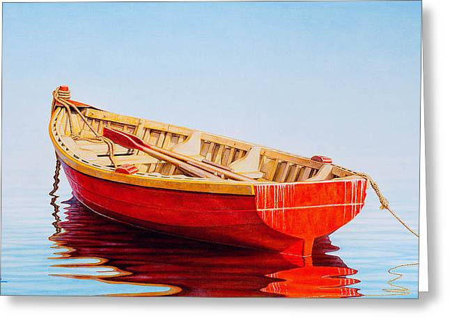 Fishing Boat Greeting Cards - Red Boat Greeting Card by Horacio Cardozo