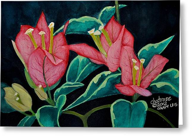 Red Bougainvillae Greeting Card by Charito ChatRose Mahilum