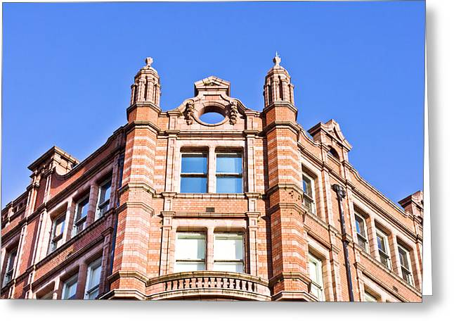 Development Greeting Cards - Red brick building Greeting Card by Tom Gowanlock