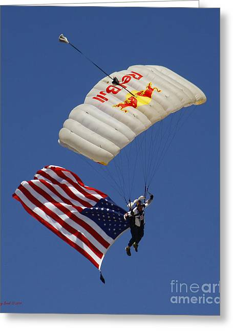 Angel Blues Greeting Cards - Red Bull American Flag Skydiver Greeting Card by Kenny Bosak