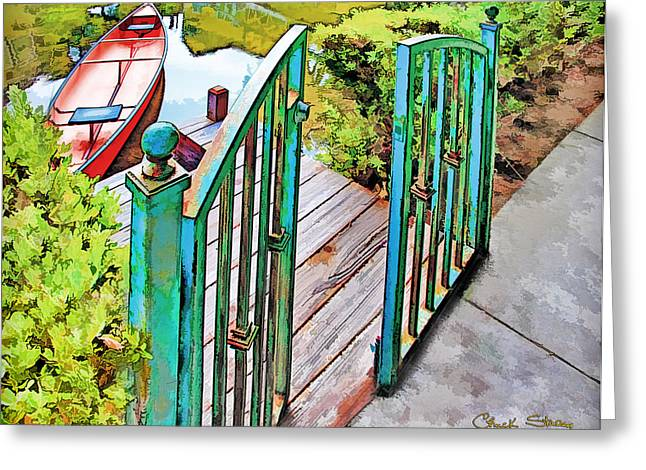 Canoe Greeting Cards - Red Canoe Greeting Card by Chuck Staley