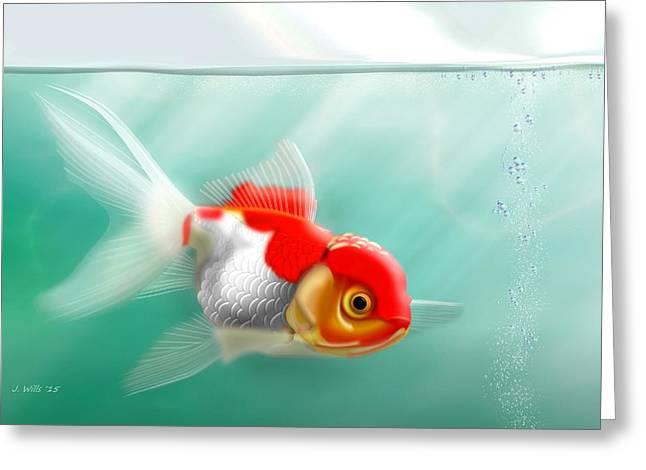 Aquarium Fish Greeting Cards - Red Cap Goldfish Greeting Card by John Wills