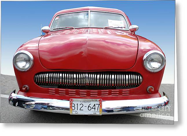 Collector Car Mixed Media Greeting Cards - Red Car2 Greeting Card by Bill  Thomson