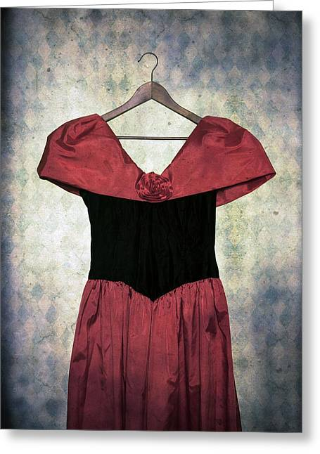 Coat Hanger Greeting Cards - Red Dress Greeting Card by Joana Kruse