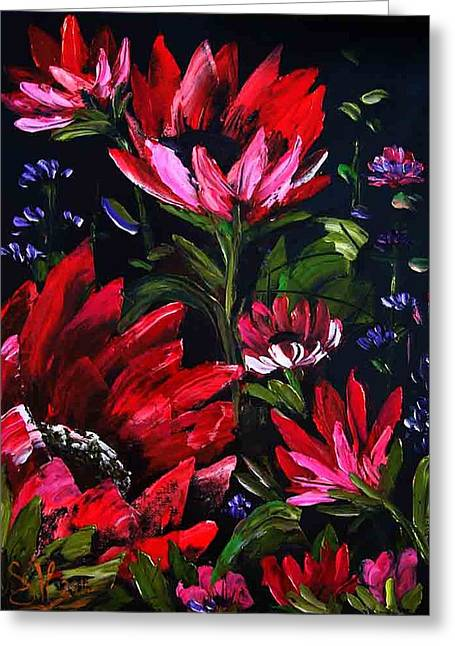 Bob Ross Paintings Greeting Cards - RED FLOWERs Greeting Card by Shirwan Ahmed