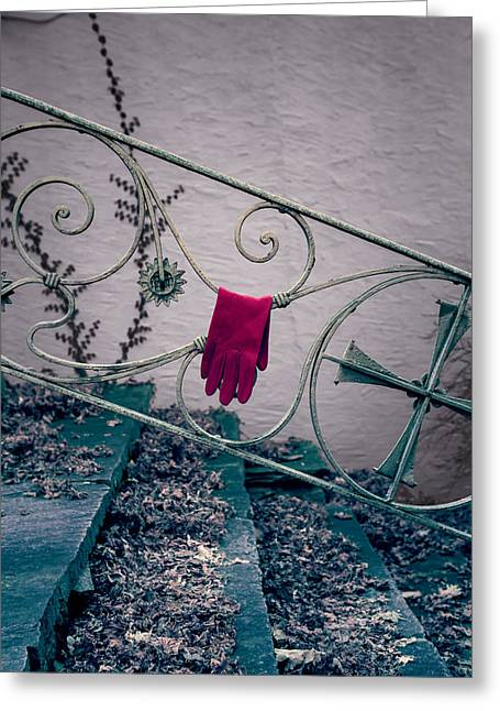 Glove Greeting Cards - Red Glove Greeting Card by Joana Kruse