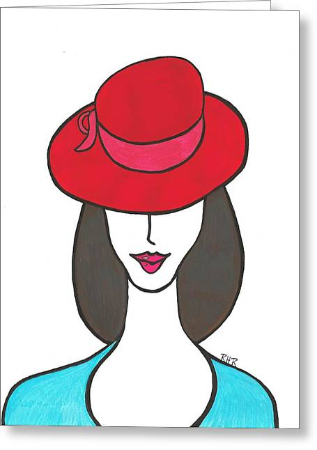Brunette Mixed Media Greeting Cards - Red Hat Greeting Card by Ray Ratzlaff