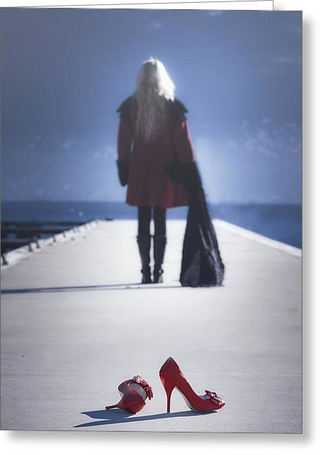 Long Gloves Greeting Cards - Red High Heels Greeting Card by Joana Kruse