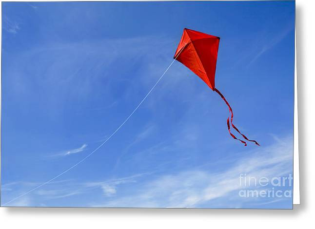 Red Kite In The Sky Greeting Card by Diane Diederich