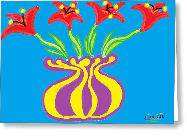 Vase Of Flowers Drawings Greeting Cards - Red Lilies Fantasy Greeting Card by Anita Dale Livaditis