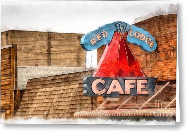 False Front Greeting Cards - Red Lodge Cafe Old Neon Sign Greeting Card by Edward Fielding
