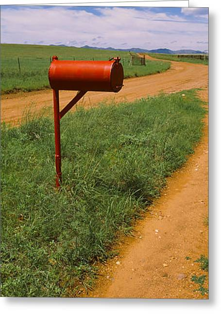 Rural Road Greeting Cards - Red Mailbox At The Roadside, San Rafael Greeting Card by Panoramic Images