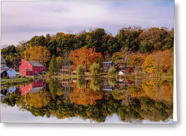Grist Mill Greeting Cards - Red Mill in Clinton New Jersey Greeting Card by Geraldine Scull