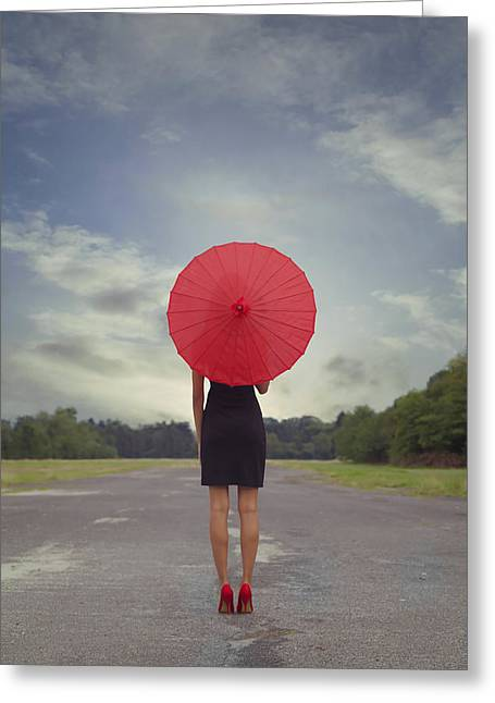 High Heeled Greeting Cards - Red Parasol Greeting Card by Joana Kruse