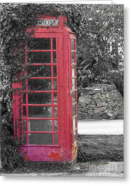 Call Box Greeting Cards - Red Phone Box Greeting Card by Brian Roscorla