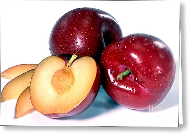 Commercial Photography Greeting Cards - Red Plum Greeting Card by Iris Richardson