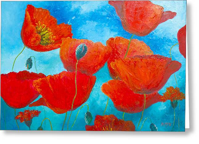 Lounge Paintings Greeting Cards - Red Poppies Greeting Card by Jan Matson