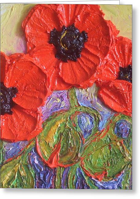 Lancaster Fine Arts Greeting Cards - Red Poppies Greeting Card by Paris Wyatt Llanso