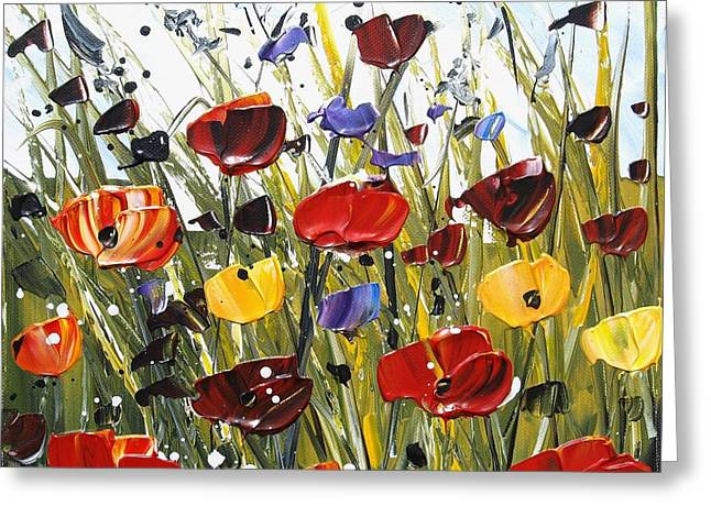 Jolina Anthony Greeting Cards - Red Poppifield Greeting Card by Jolina Anthony