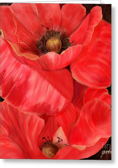 Joan A Hamilton Greeting Cards - Red Poppy One Greeting Card by Joan A Hamilton