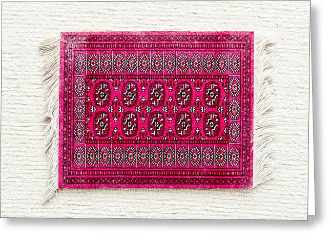 Tapestries Textiles Greeting Cards - Red rug Greeting Card by Tom Gowanlock